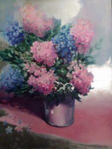 """Ausmas Gašperes gleznu izstāde """"Pasakas par ziediem"""""""