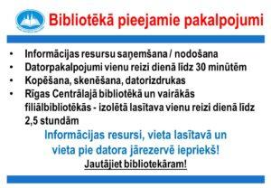 Rīgas Centrālajā bibliotēkā pieejamie pakalpojumi